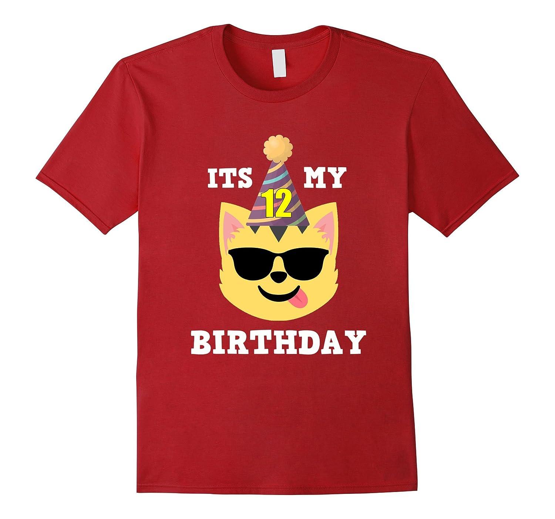 12th Birthday T Shirt Cool Shades Cat Emoji Art