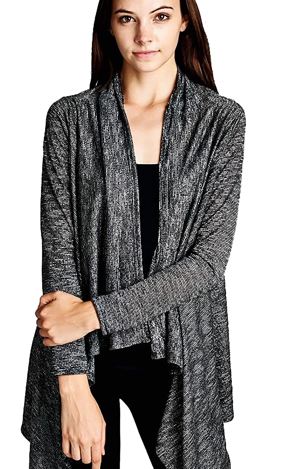 Women's Two Tone Cardigan Draped Open Front Asymmetric Hem Lightweight Jacket