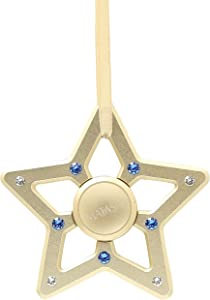 Matashi 24K Gold Plated Hanging Christmas Tree Star Ornament Crystals, Christmas Decorations for Holiday Wedding Party Decoration, Tree Ornaments, Shiny, Metal Finish, Ribbons Included