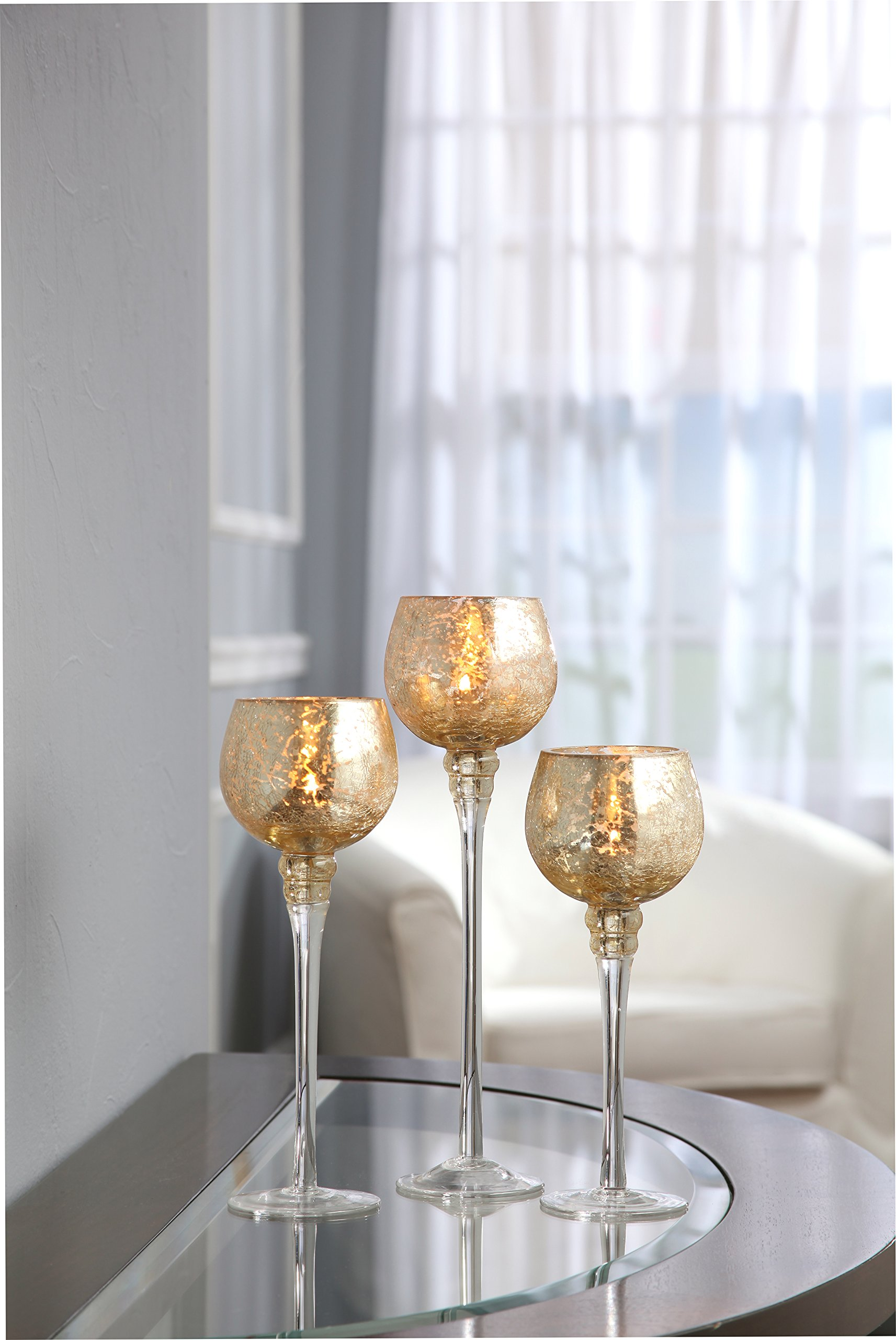 Hosley Set of 3 Crackle Gold Glass Tealight Holders (9'', 10'', 12'' High). Ideal for Weddings, Special Events, Parties. Also Makes a Great Gift. O3