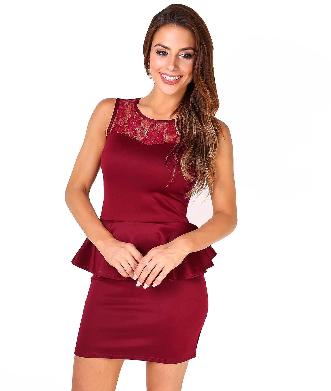 KRISP Damen Kurzes Kleid Minikleid mit Schößchen & Spitze: Amazon.de ...