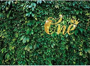 Homewelle Green Leaves Backdrop Lawn Wall 7Wx5H Feet One Baby Nature Grass Photography Backgrounds 1st Birthday Boy Girl Newborn Banner Decor Party Celebration Decor Photoshoot Props Vinyl Cloth