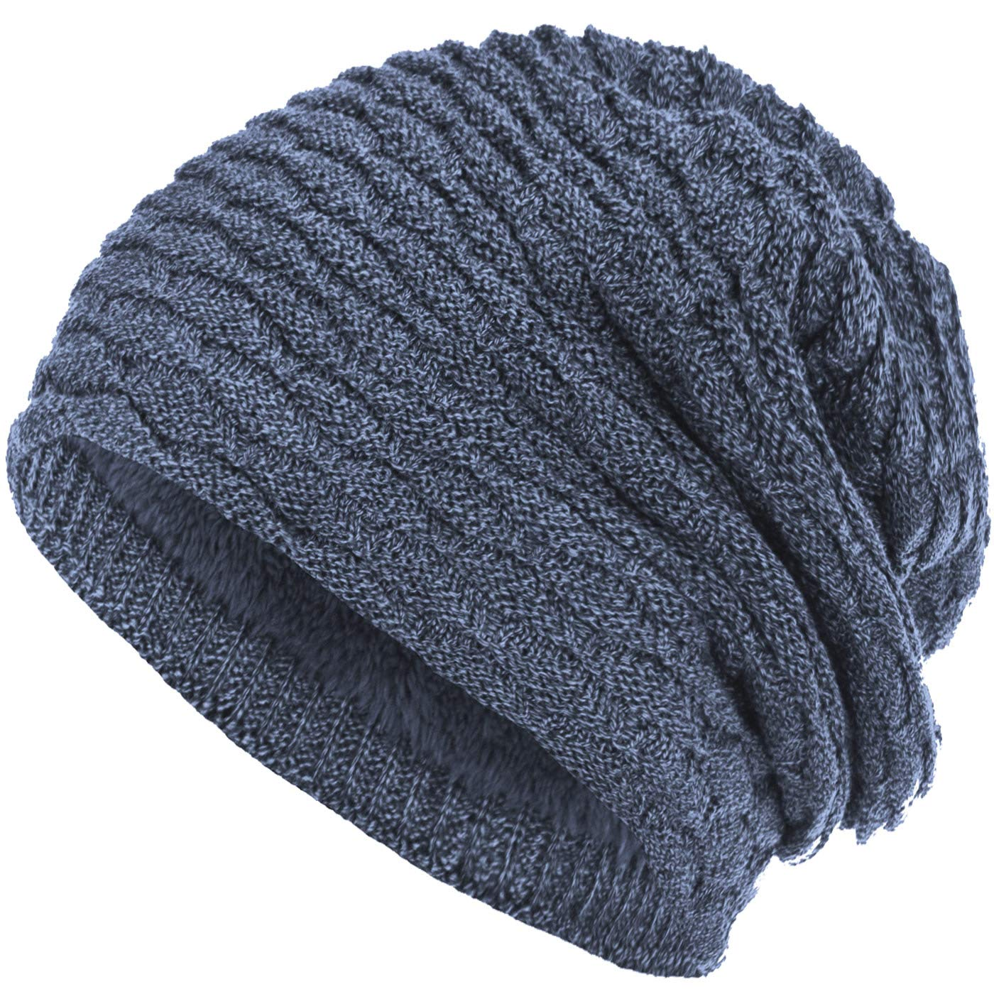 Compagno - Berretto in maglia - Tinta unita - Donna blu jeans taglia unica   Amazon.it  Abbigliamento a7962def74cf