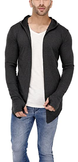 2d2611d08bb20 DENIMHOLIC Hooded Cardigan with Thumb Insert for Men (Anthra) (Anthra,  Small). Roll over image to zoom in
