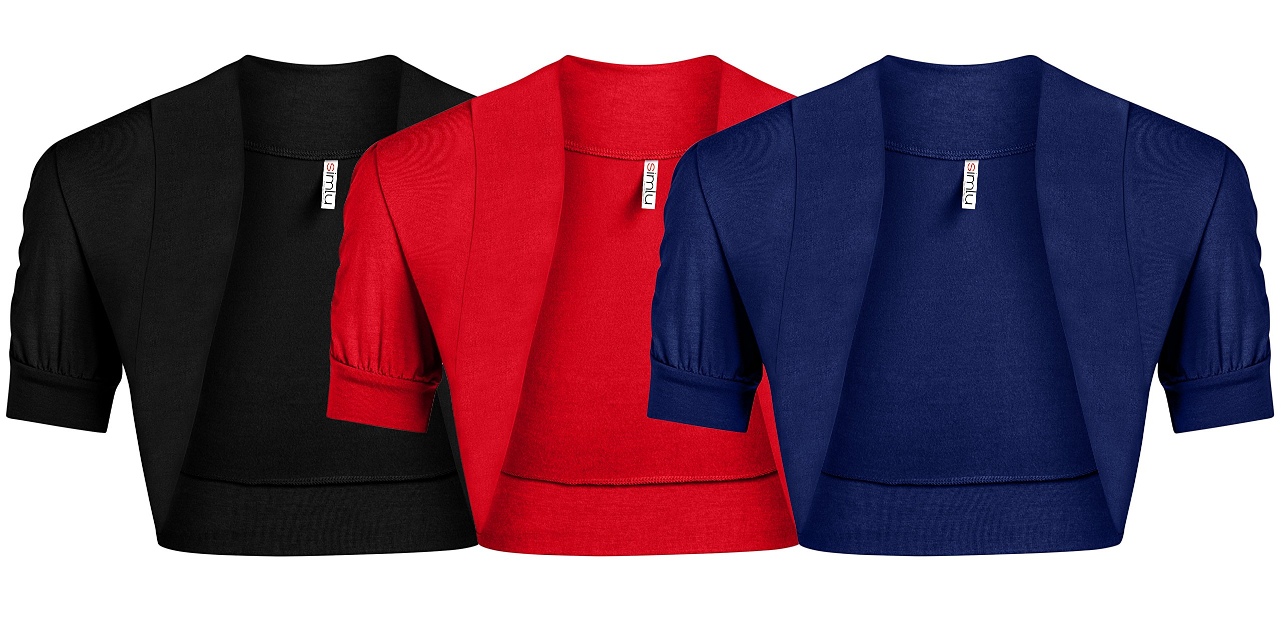 Simlu Womens Shoulder Shrugs Reg and Plus Size Ruched Short Sleeve Boleros for Dresses - Made in USA 3 Pk Black/Red/Royal Small US 2-4