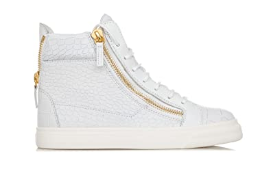 a2597472c6f3d Giuseppe Zanotti Women's Shoes Crocodile Embossed Leather Hi-Top Sneakers-37.5  Donna White