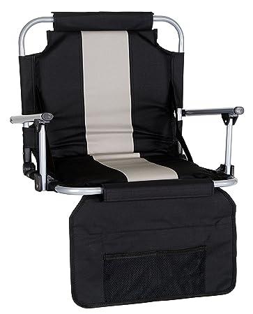 Captivating Stansport Folding Stadium Seat W/Arms, Black/Silver Stripe