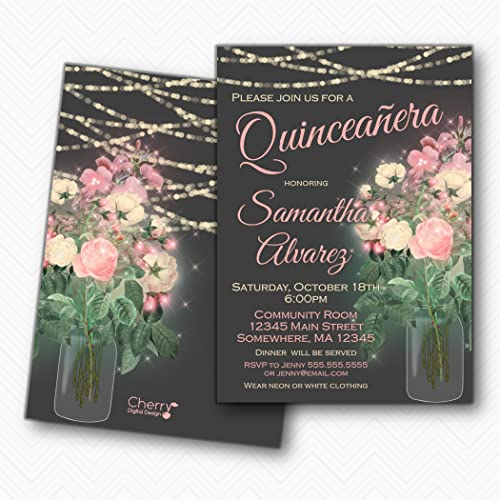 amazon com floral mason jar quinceanera invitations 15th birthday