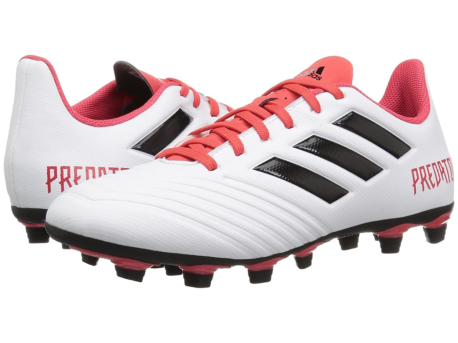 (アディダス) adidas メンズサッカーシューズ靴 Predator 18.4 FG White/Black/Real Coral 12 (30cm) D Medium B07BQFBYRW