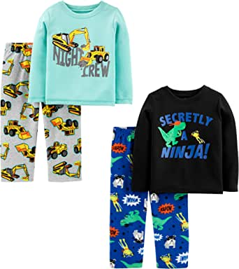 Simple Joys by Carter's Conjunto de Pijama de 4 Piezas (Parte Superior de poliéster y Parte Inferior de vellón) Conjunto de Pijama para Niños
