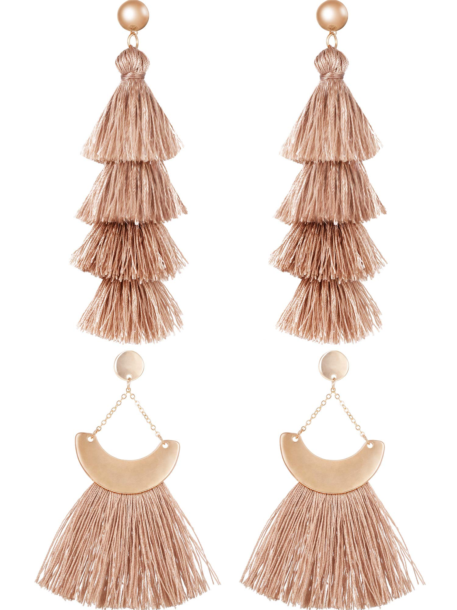 Jovitec 2 Pairs Tassel Earrings Bohemian Handmade Tiered Thread Tassel Dangle Earrings and Fan Tassel Drop Dangle Earring (Camel Color)