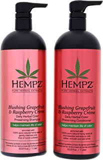 product image for Hempz Pure Herbal Extracts Blushing Grapefruit & Raspberry Creme Herbal Shampoo & Conditioner 33.8oz to Protect Hair Color Bundle