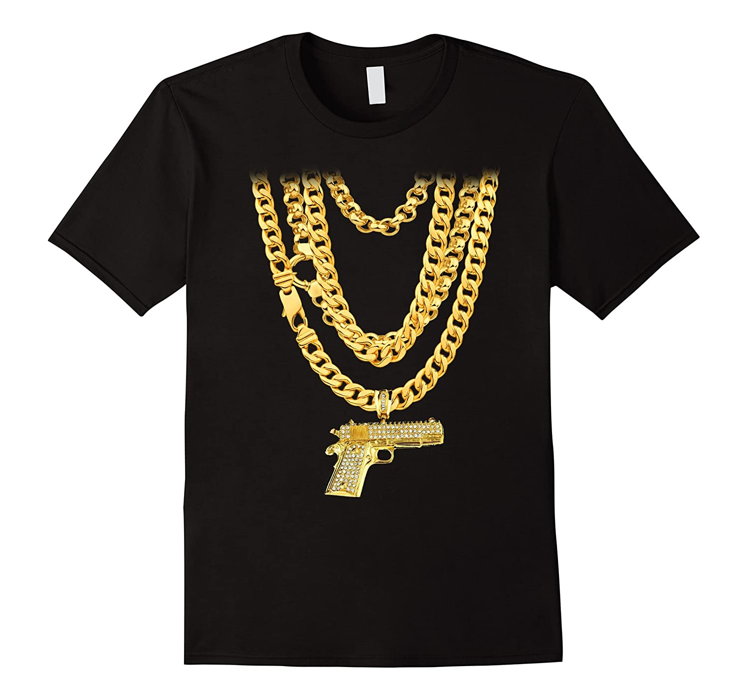 Hip-Hop Gold Chains with Gun Pistol Bling Funny T-Shirt-TJ