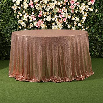 Partydelight Rose Gold Sparkle Sequin Tablecloths, Table Linens 108u0027u0027 ROUND  For Wedding Party