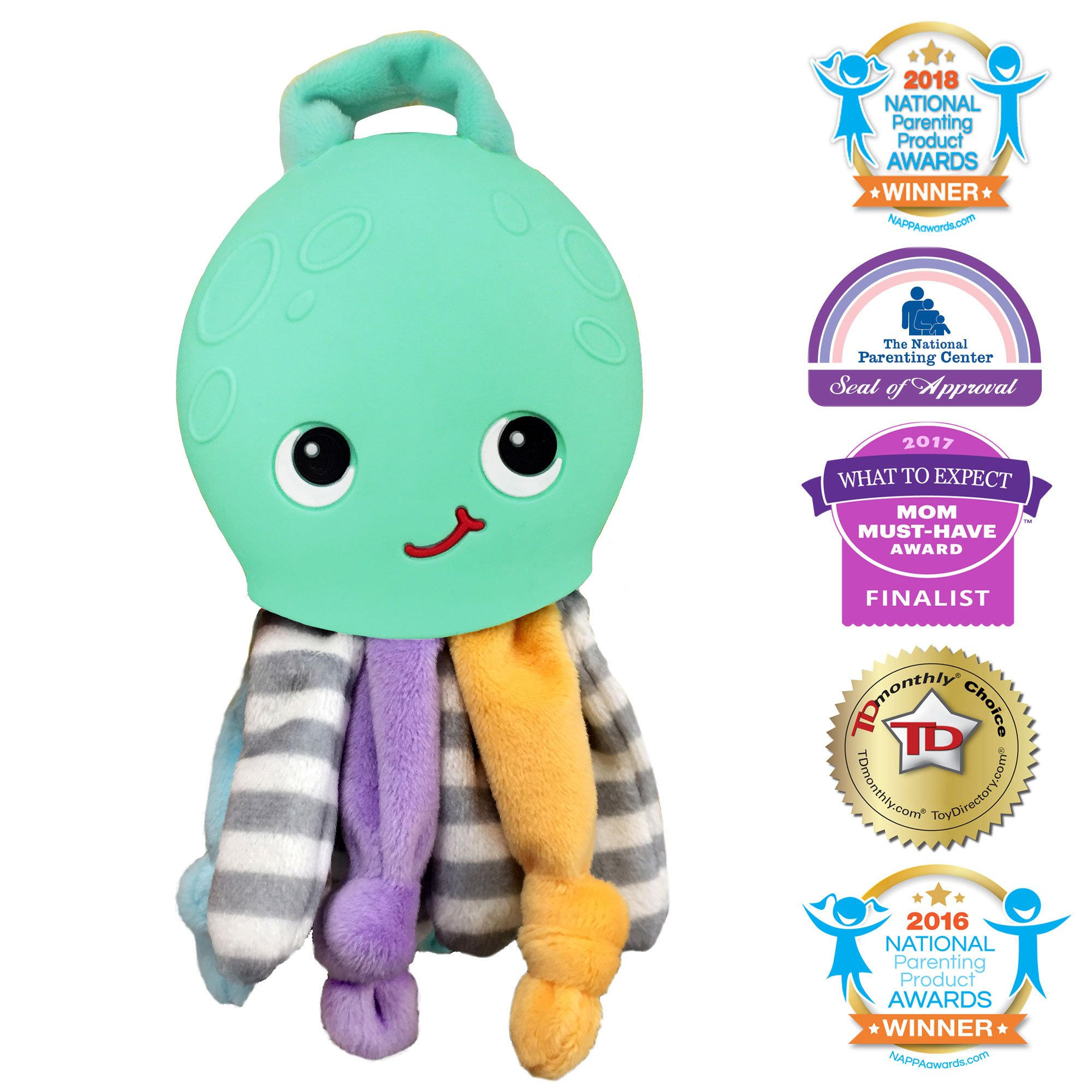 Silli Chews 2 in 1 Octopus Security Buddy Soft Plush Baby Toy and Silicone Soft Teething Pain Relief Teether for Babies Infants and Toddlers PVC, Phthalate, Lead, and BPA Free Chew Toy Mint Green
