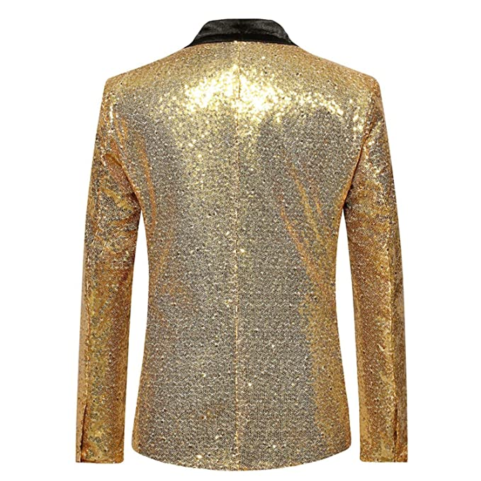 Amazon.com: Blazer de lentejuelas doradas brillantes para ...