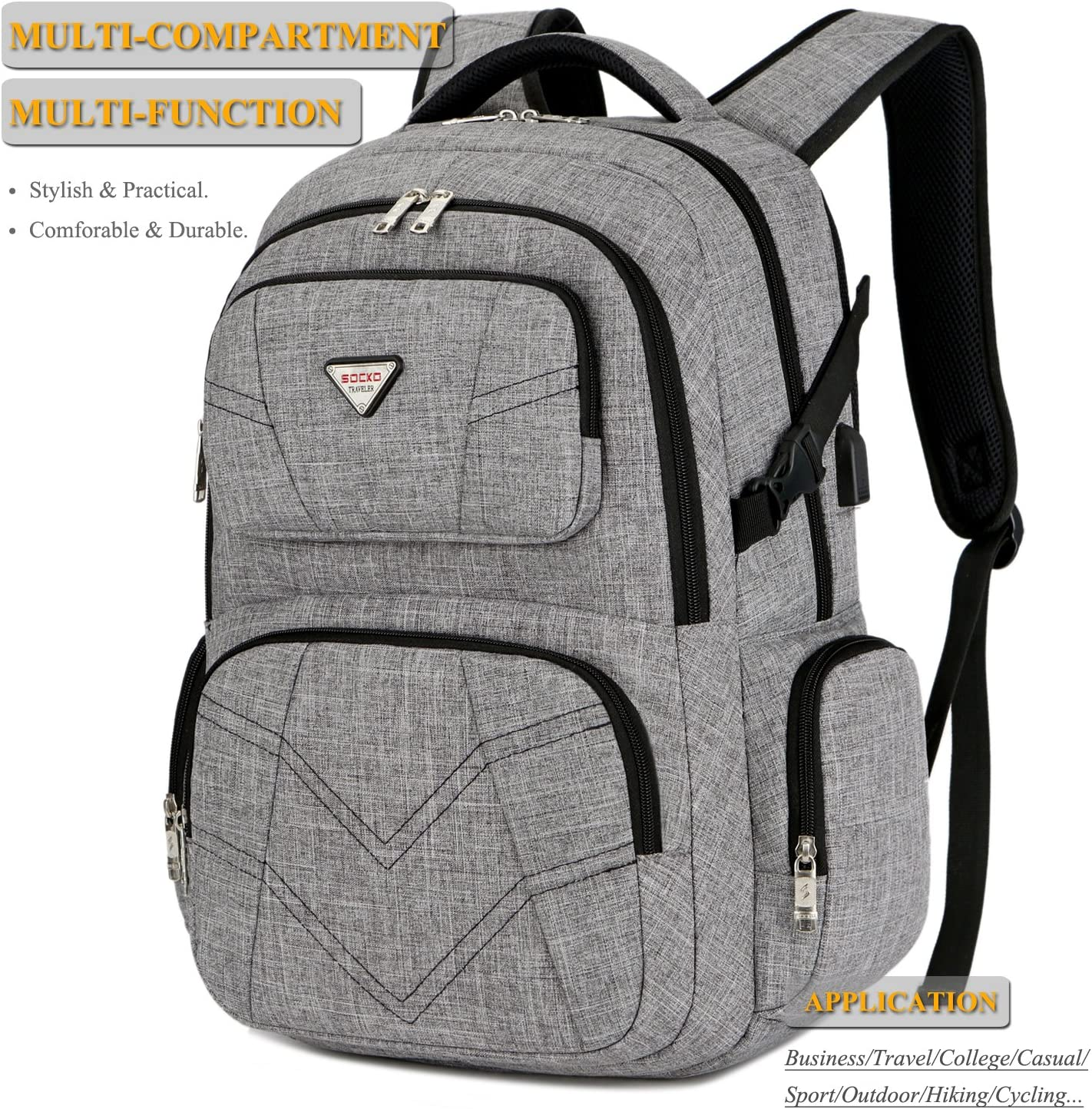 SOCKO Multi-Functional Laptop Backpack Business Travel Luggage Bag College Ba...