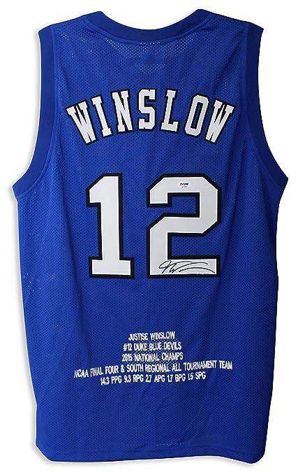 80a41ff875e Justise Winslow Duke Blue Devils Autographed Blue Jersey - APE COA ...