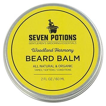 Seven Potions Beard Balm 2 oz  100% Natural, Organic with Jojoba Oil  Makes  Your Beard Soft, Stops