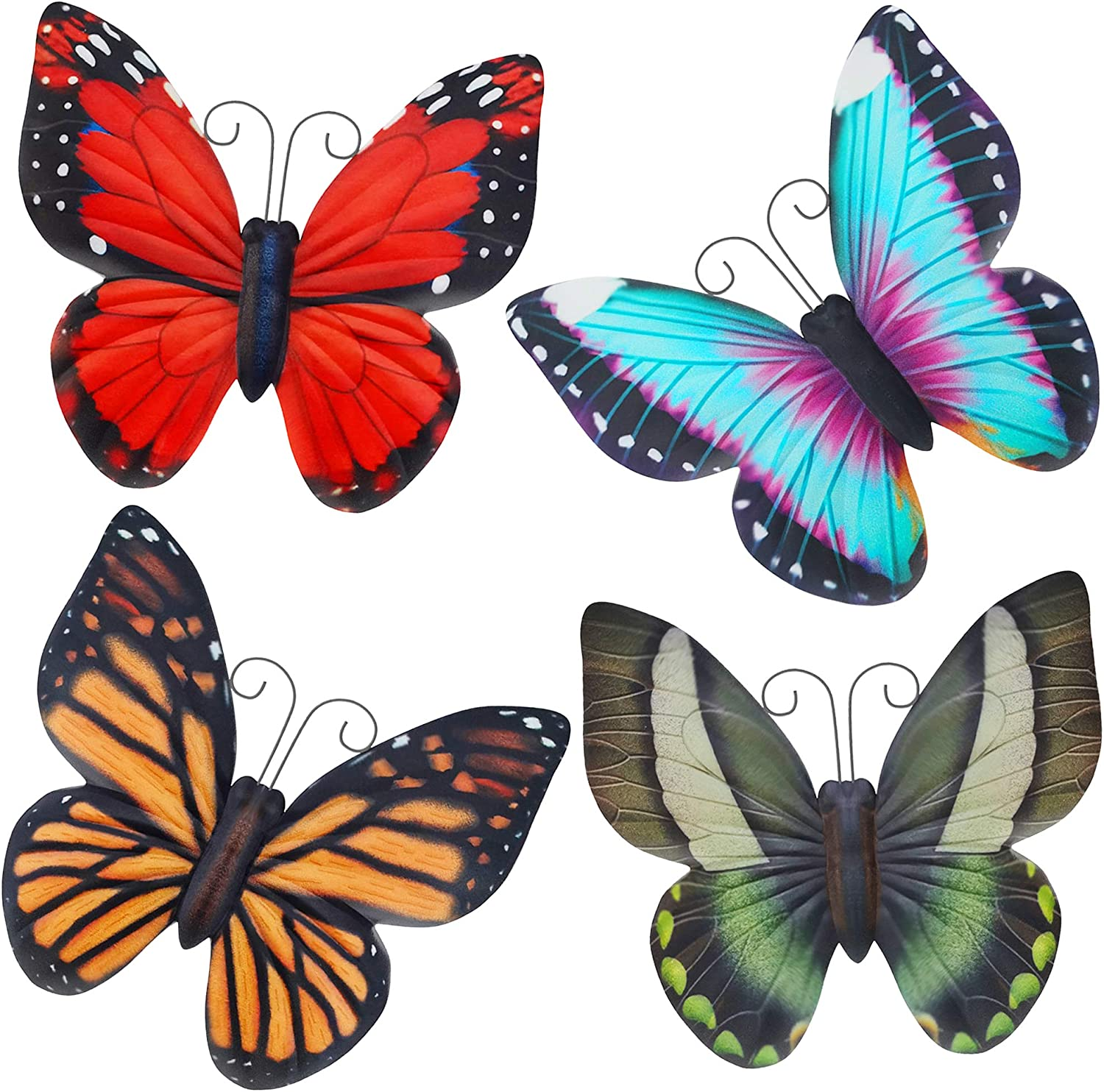 Foxany Metal Butterfly Wall Art, 4 Pack Wall Decor Sculpture, Hanging for Indoor & Outdoor, Garden Statues Hanging for Indoor /Outdoor / Yard / Lawn / Garden / Patio, Set of 4 Cute Butterfly