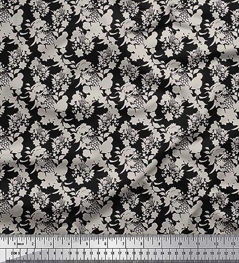 Soimoi Negro Georgette poli Tela Hojas y flores tela de camisa tela estampada de 1 metro 42 Pulgadas de ancho: Amazon.es: Hogar