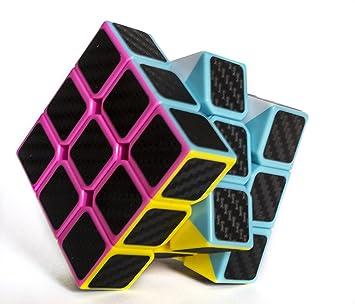 Cubo de Rubik Mágico 3x3 Negro Pegatinas de Fibra de Carbono + REGALO de 1 Llavero de peluche EMOJI emoticono AL AZAR