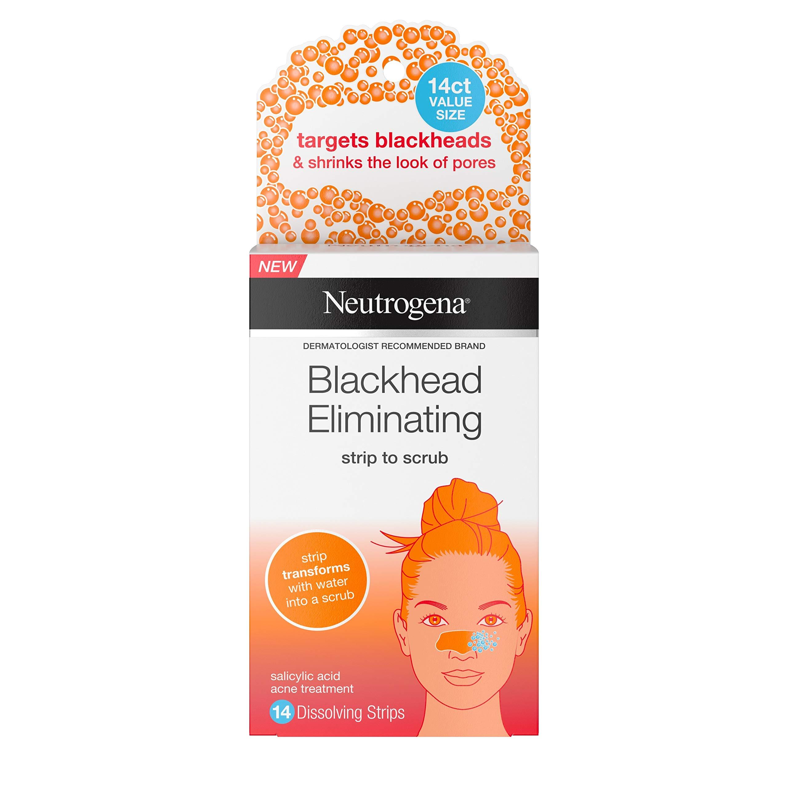 Neutrogena Blackhead Eliminating Pore Strip to Facial Scrub with Salicylic Acid Acne Treatment, Oil-Free & Non-Comedogenic, 14 ct. by Neutrogena