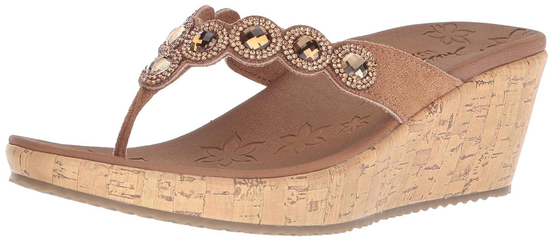 Skechers Women's Beverlee-Bizzy Babe Wedge Sandal B0755PLCQW 8 B(M) US Tan