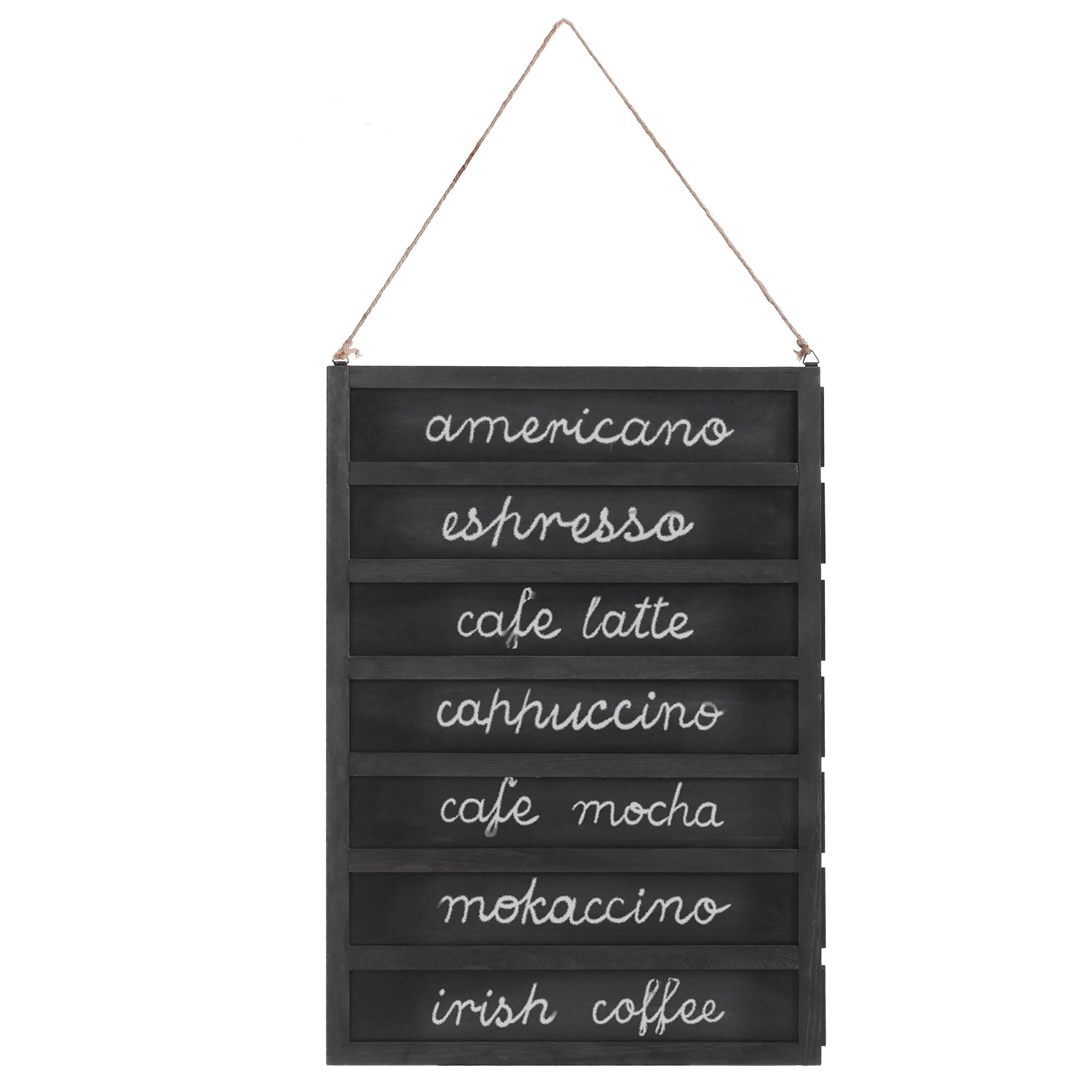 MyGift 7-Slot Wall-Mounted Chalkboard Menu Sign with Removable Boards