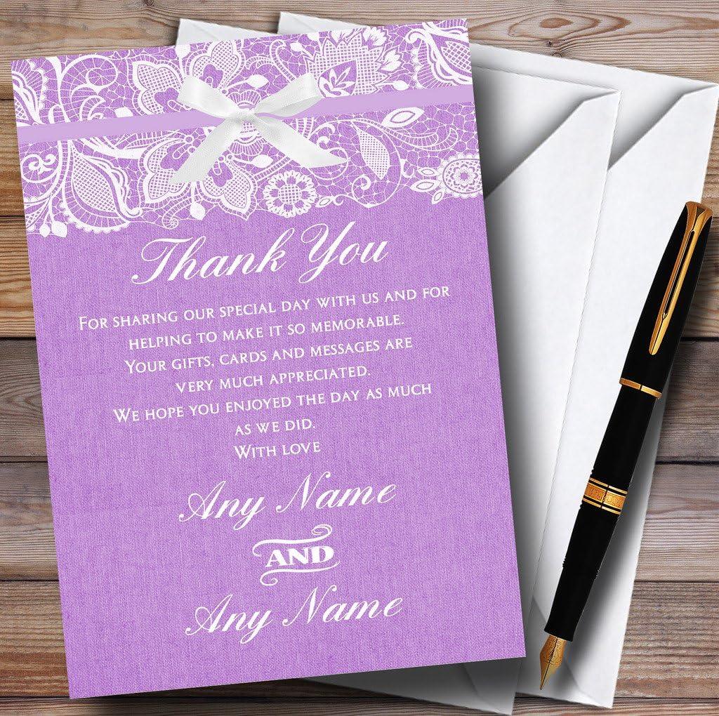 Vintage Lilac Purple Burlap /& Lace Personalized Wedding Thank You Cards