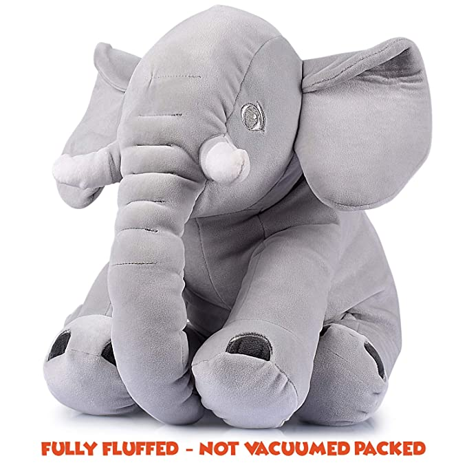 d35973dff08 Amazon.com  Adorable Stuffed Elephant Toy - Cute Soft Plush Cuddly Fabric -  Great Gift Idea for Kids   Adults  Toys   Games