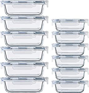 24 Pc Glass Food Storage Containers Airtight Lids Microwave/Oven/Freezer & Dishwasher Safe, Small & Large Reusable Rectangle Bento Containers
