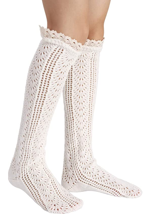 Vintage Socks | 1920s, 1930s, 1940s, 1950s, 1960s History Avidlove Button Boot Cuffs Lace Trim Long Wool Knitted Socks Leg Warmers $9.59 AT vintagedancer.com