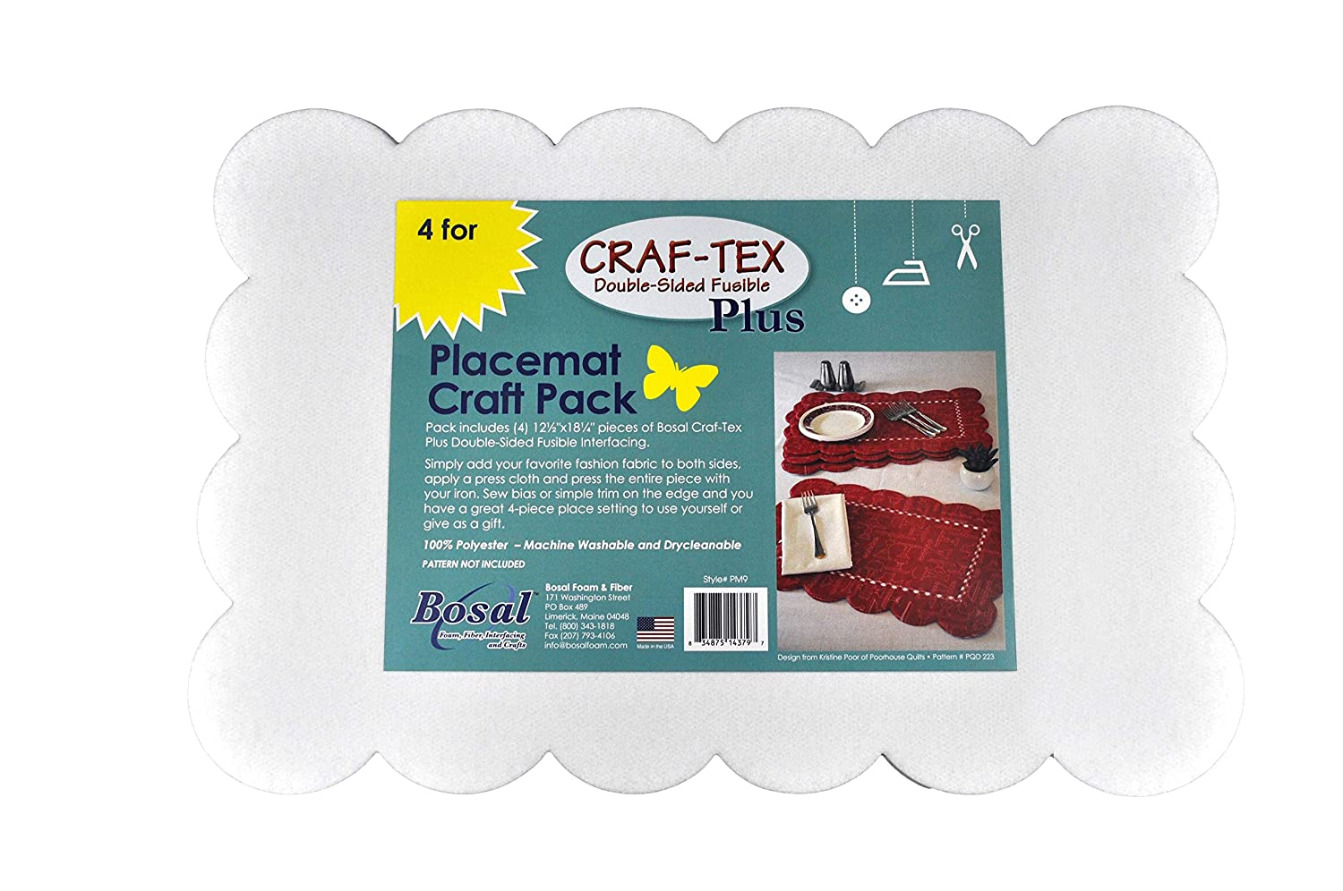 Bosal Double-Sided Fusible Interfacing Placemat Craft Pack Iron On Craft Project
