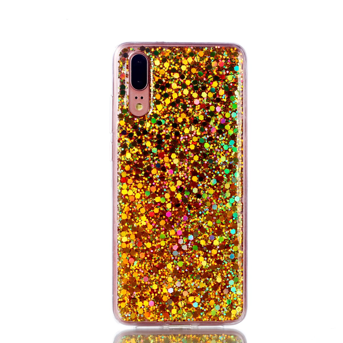 Shinyzone Custodia Huawei P20 Lite,Cover Huawei P20 Lite Bling Brillante Paillettes Design Copertura Protettiva TPU Gel Morbida-Viola