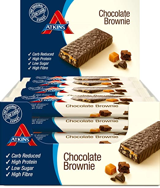 Atkins ADV Chocolate Brownie Barritas - Paquete de 16 barritas x 60 gr - Total: