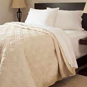Lavish Home Solid Color Bed Quilt, Full/Queen, Ivory
