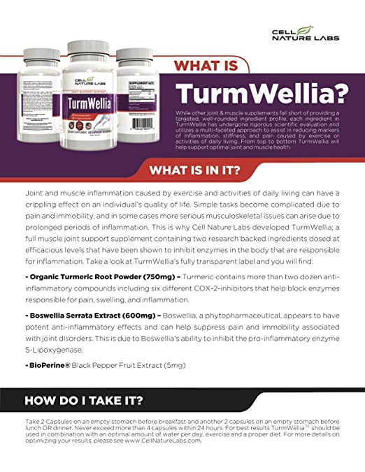 Amazon.com: Turmeric Curcumin, Boswellia & Black Pepper Joint &  Inflammation Support Nutritional Supplement TurmWellia by Cell Nature Labs  Made in the USA: ...