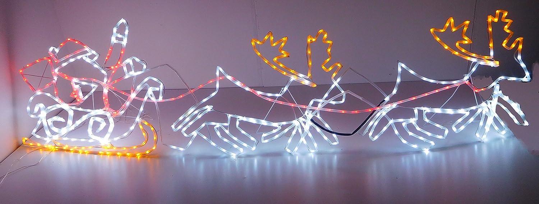 Christmas Concepts 2.1m Santa Sleigh + 2 Reindeer Flashing Silhouette With LED Lights - Christmas Lights Christmas Concepts®