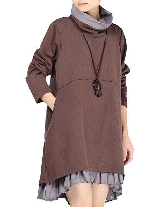 Women's Flared Layers Dress Hi-Low Ruffle Hem Tunic Top