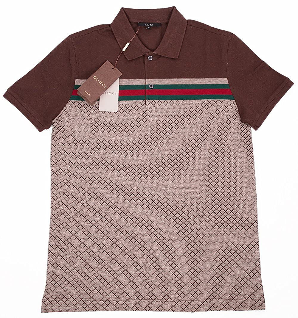 187bc9a8 Amazon.com: Gucci Mens Polo Shirt Brown with Diamante Print and Front  Stripe Signature: Clothing