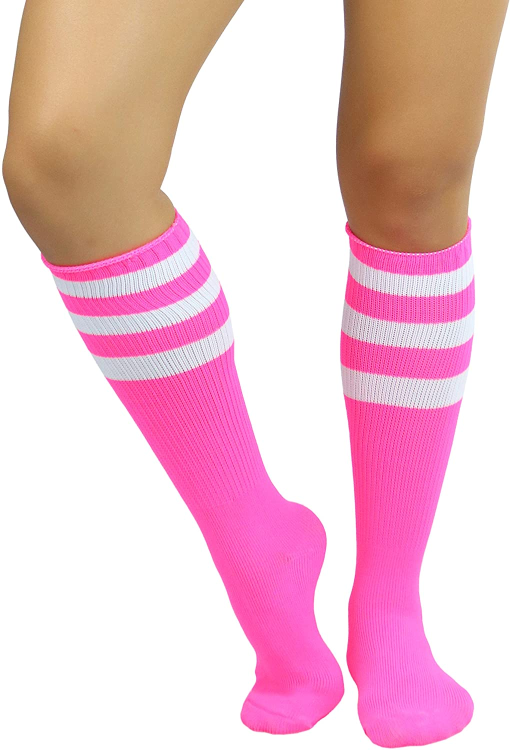 Vintage Socks | 1920s, 1930s, 1940s, 1950s, 1960s History ToBeInStyle Womens Premium Knee High Athletic Socks w/Contrasting Wide Stripes $11.95 AT vintagedancer.com