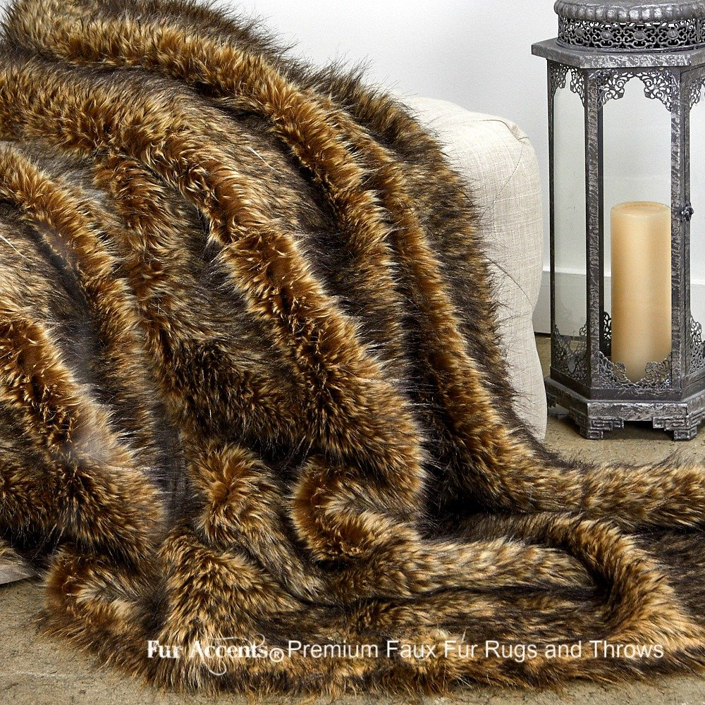 Sumptuous Luxury Faux Fur Throw Blanket - Designer Quality - Fur Accents - Made in America (58''x80'', Tawny Wolf) by Fur Accents
