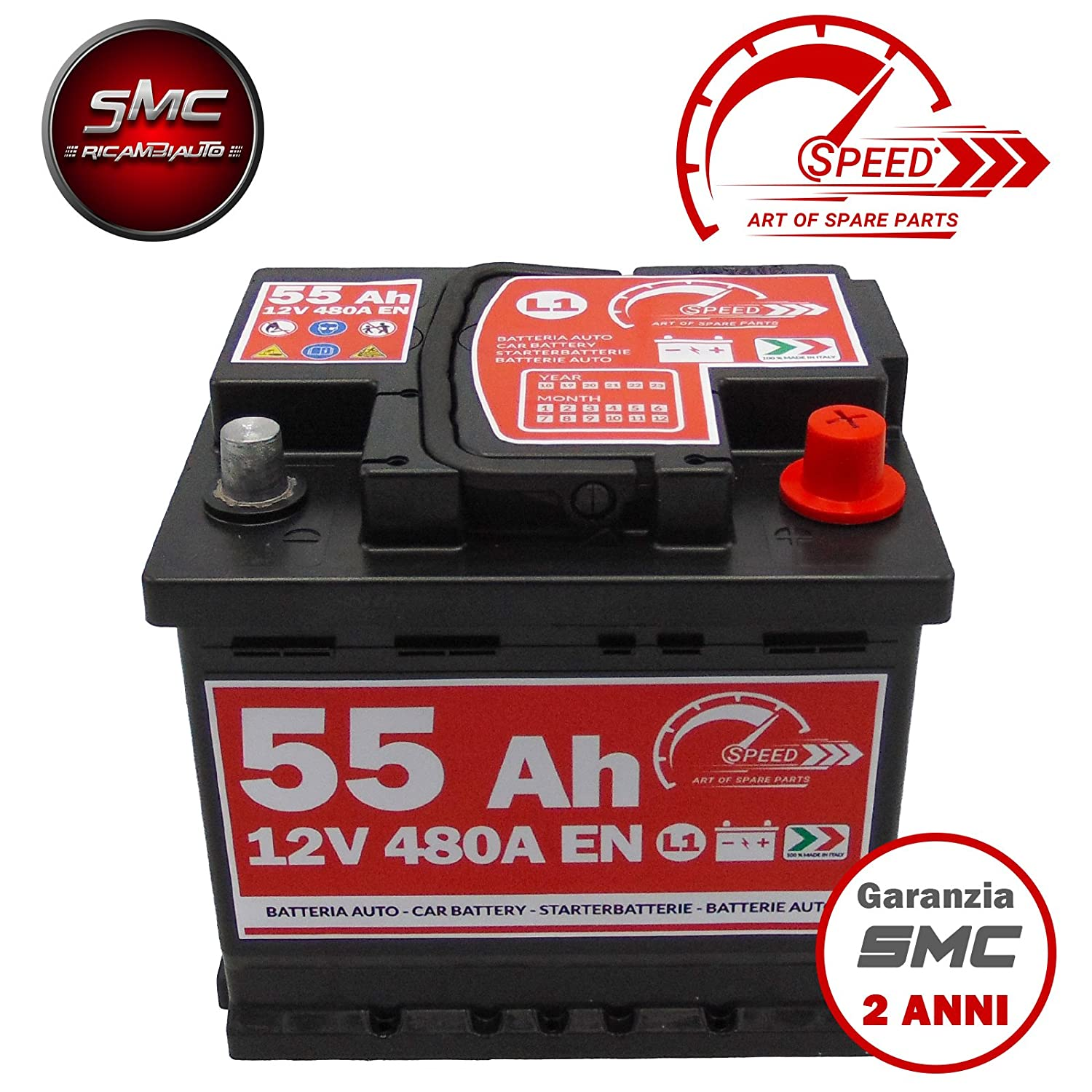 BATTERIA AUTO ORIGINALE SPEED BY SMC CODICE 7903430 L155 12V 55AH 480A EN CON POLO POSITIVO A DESTRA