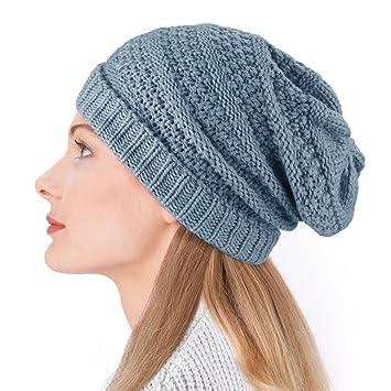 Dafunna Gorro de punto Sombrero de invierno Unisex Elástico Lana Slouch  Beanie Hat para Hombre Mujer f2d66a860e8
