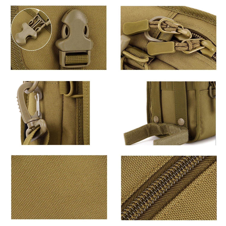 Bolso t/áctico de cintura portaobjetos multiusos con sujeci/ón Molle para dispositivos y herramientas Bonice Hombre con mosquet/ón de aluminio Modello 01