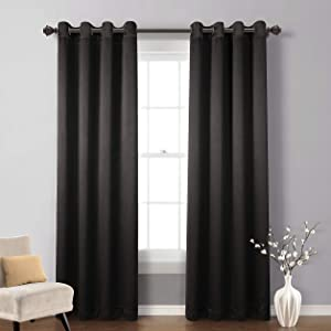 MYSKY HOME Solid Grommet top Thermal Insulated Window Blackout Curtains Kids Bedroom, 52 x 84 inch, Black, 1 Panel