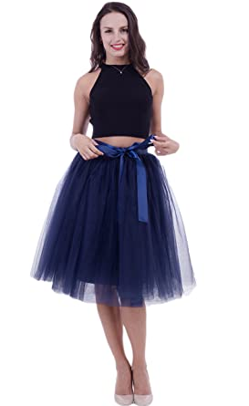 size 7 best place for really cheap FOLOBE Women's Tutu Skirt Midi Tulle Skirts 7 Layers ...