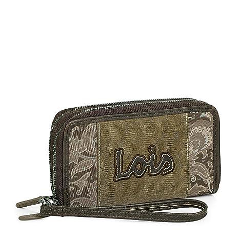 961d9705b Lois - Cartera Billetero Tarjetero Monedero Grande de Mujer con Doble  Cremallera. 12 Compartimentos para