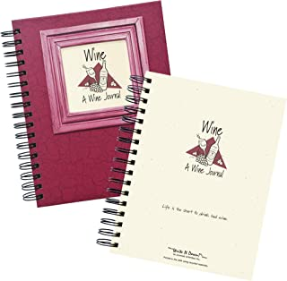 "product image for Journals Unlimited""Write it Down!"" Series Guided Journal, Wine, A Wine Journal, with a Cranberry Hard Cover, Made of Recycled Materials, 7.5""x9"""